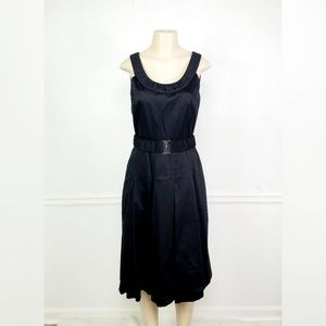 Calvin Klein Black Belted Fit and Flare Dress